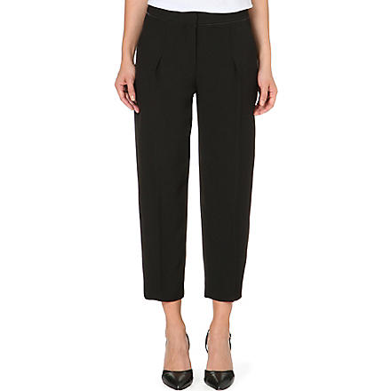 REISS Gillian pleated cropped trousers (Black