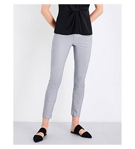 REISS Stala skinny mid-rise woven trousers (Black/off+white