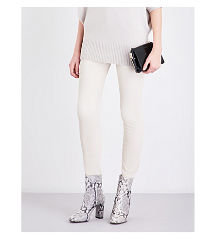 REISS Dani skinny leather trousers (Off+white