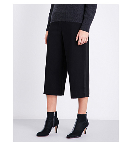 REISS Poppy cropped wide-leg woven trousers (Black