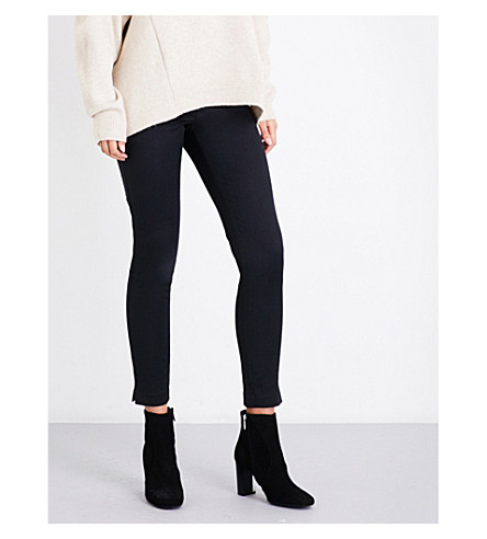 REISS Lea skinny-fit jacquard trousers (Black