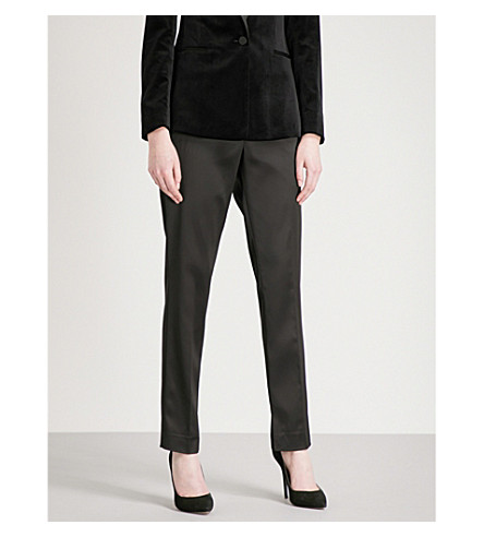 REISS Beth tapered high-rise satin trousers (Black