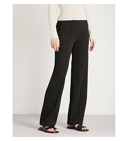 REISS Leya tailored-fit wide twill trousers (Black