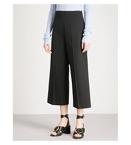 REISS Nara wide-leg cropped stretch-cotton trousers (Black