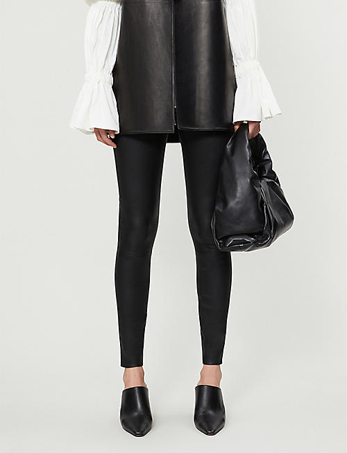 REISS Goldie leather leggings