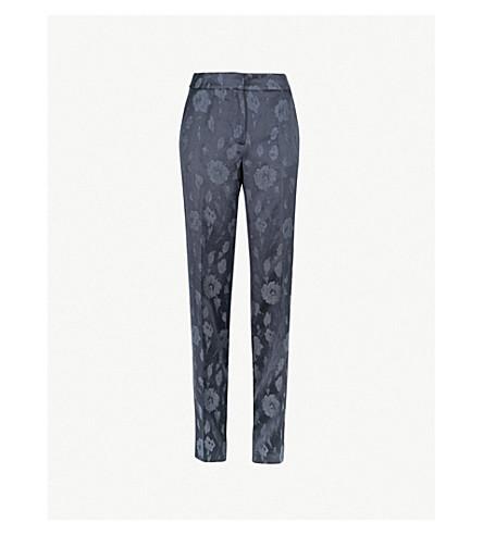 REISS Peony wide-leg jacquard trousers (Navy