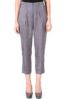 REISS Margueritte chevron-print crop trousers