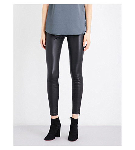 REISS Carrie leather leggings (Black
