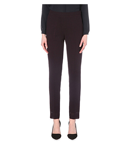 REISS Camila slim-fit tapered wool-crepe trousers (Grape