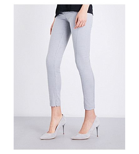 REISS Dagna skinny-fit cropped woven trousers (White/black
