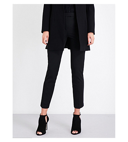 REISS Joanne cropped woven trousers (Black