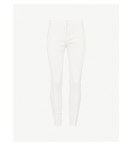 REISS Darlas skinny cotton-blend trousers (Off+white