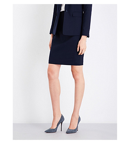 REISS Faulkner tailored-fit wool-blend skirt (Navy