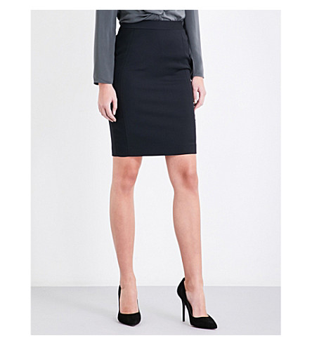 REISS Huxley tailored-fit wool-blend skirt (Black