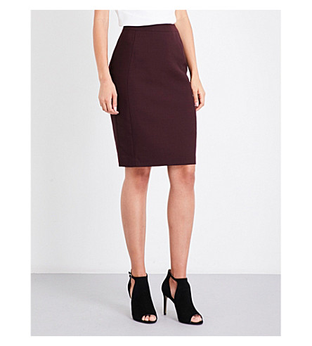 REISS Atlee wool-blend skirt (Berry