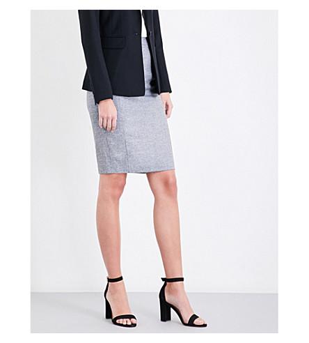 REISS Hampstead high-rise wool-blend skirt (Black/white