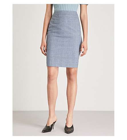 REISS Chelton wool-blend skirt (Blue