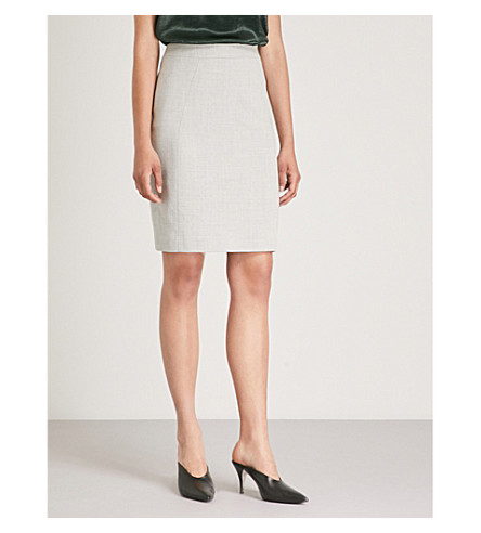 REISS Haven stretch-wool skirt (Grey