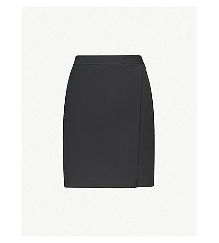 REISS Huxley wrap-over wool-blend skirt (Black