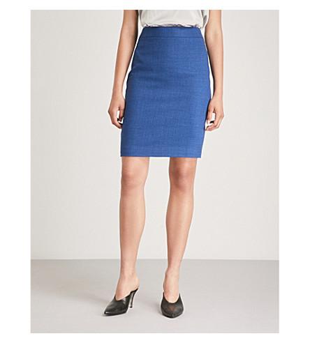 REISS Malani stretch-wool skirt (Bright+blue