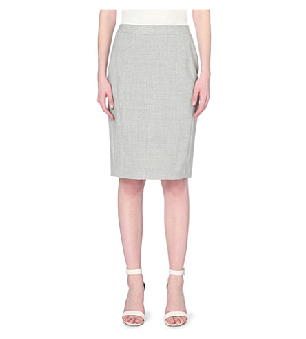 REISS Aleggra checked wool-blend pencil skirt (Mid grey