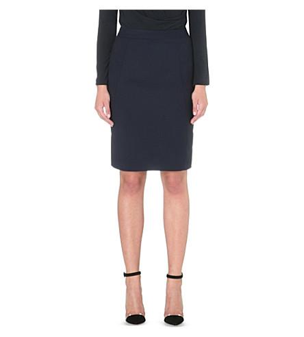 REISS Indi wool-blend pencil skirt (Navy