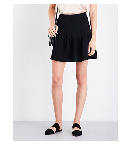 REISS Lexi A-line crepe skirt (Black