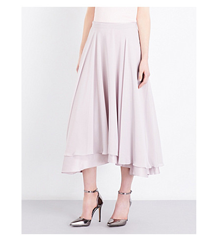 REISS Rosie pleated crepe midi skirt (Steel