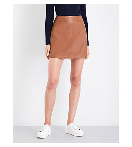 REISS Cammie leather skirt (Tan