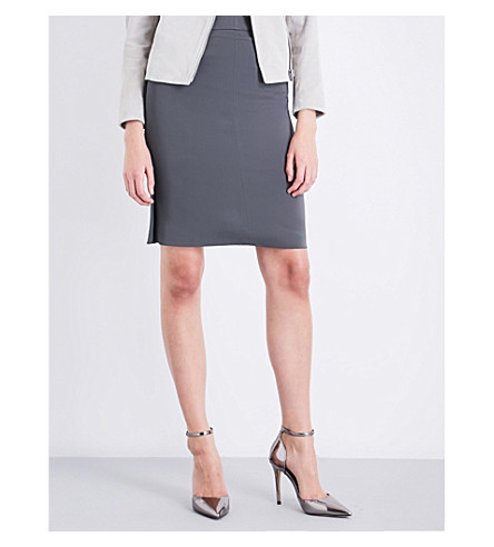 REISS Lory crepe pencil skirt (Grey+green