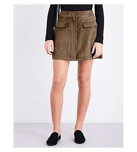 REISS Marina suede skirt (Khaki