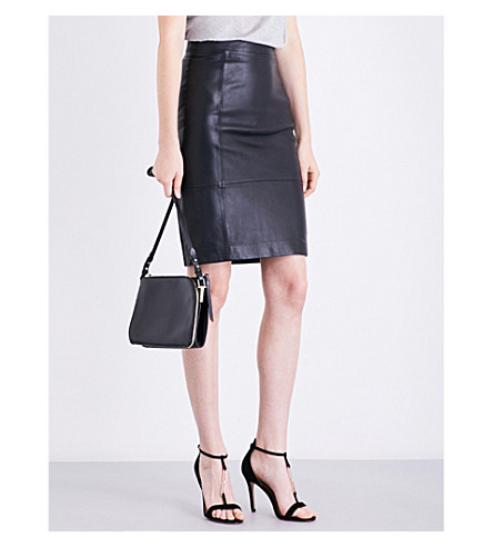 REISS Olivia leather and ponte skirt (Black
