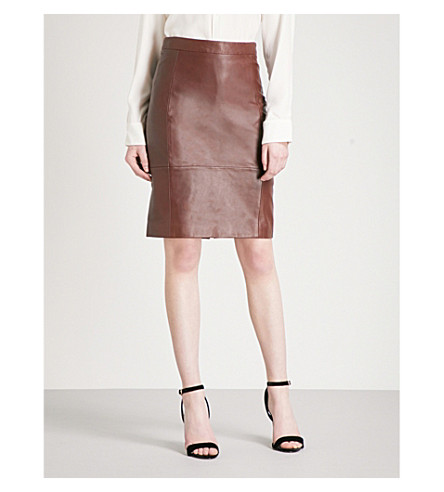 REISS Olivia leather and ponte skirt (Ox blood