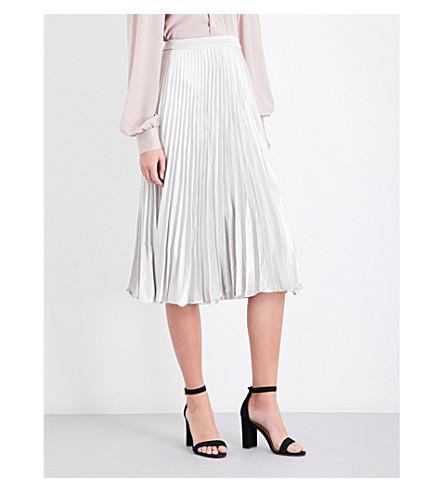 REISS Alisa pleated metallic skirt (Silver+metallic