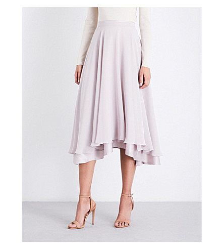 REISS Spence chiffon midi skirt (Ash