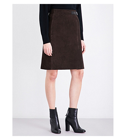 REISS Riley A-line suede skirt (Chocolate
