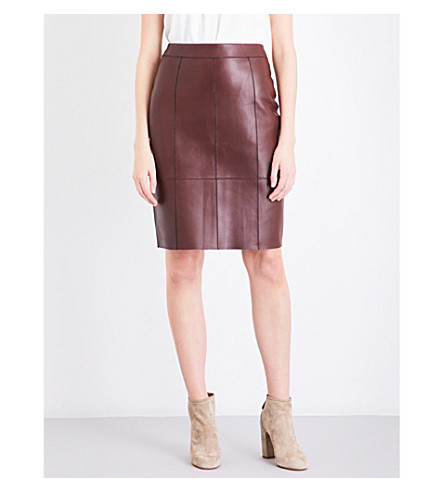 REISS Tris bonded leather pencil skirt (Ox+blood