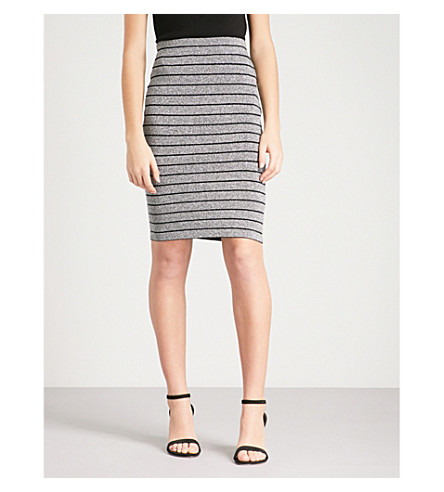 REISS Hanni metallic knitted skirt (Silver