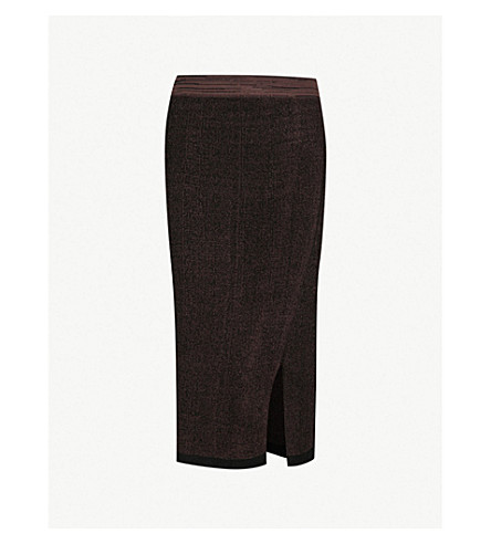 REISS Cassie knitted pencil skirt (Chocolate