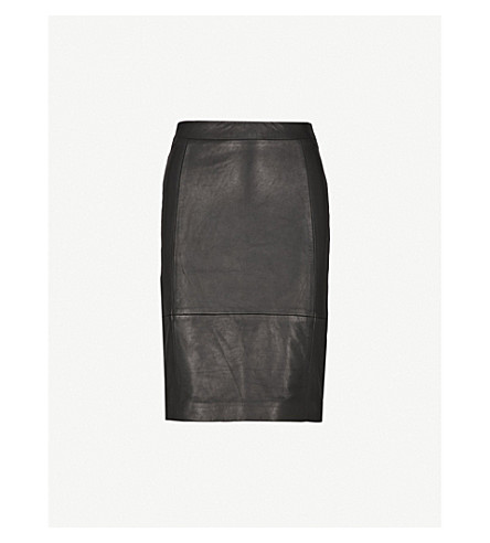 REISS Olivia leather and jersey skirt (Black