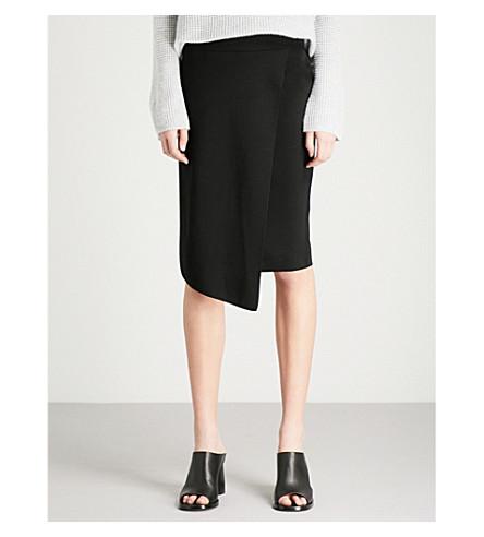 REISS Jessie knitted wrap skirt (Black