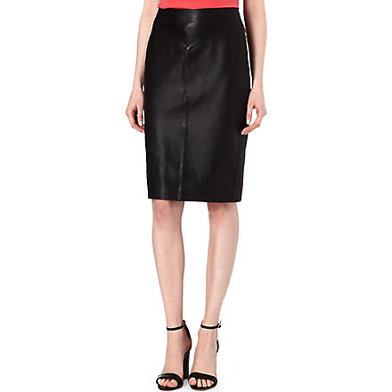 REISS Shannon leather pencil skirt (Black/white