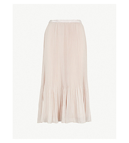REISS Cherry pleated crepe midi skirt (Neutral