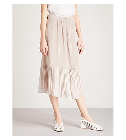 REISS Cherry pleated crepe midi skirt (Neutral