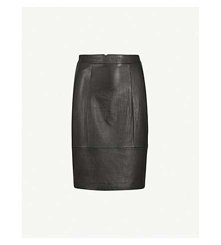 REISS Kristen leather pencil skirt (Black