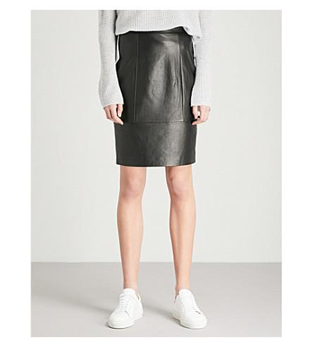 REISS Kristen leather pencil skirt (Black