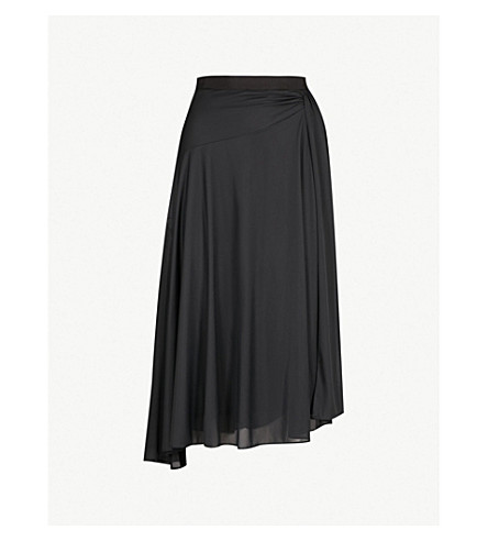 REISS Mora draped crepe midi skirt (Black