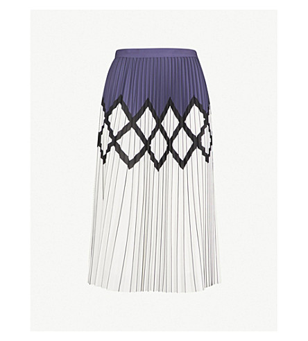 REISS Elsa printed pleated crepe midi skirt (Navy/white