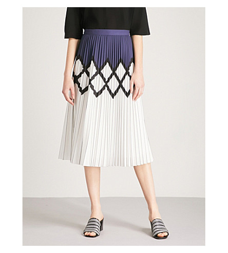 REISS Elsa printed pleated crepe midi skirt (Navy/white