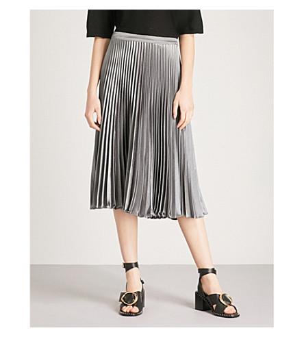 REISS Alisa pleated metallic midi skirt (Pewter